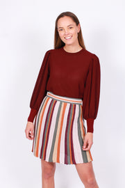 Pleated Stripe Skirt - Multicolor