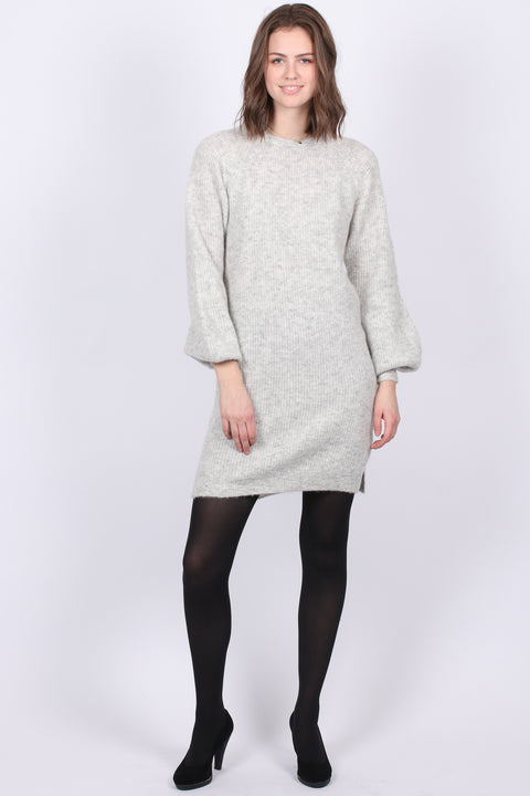 Fluffy Rib Dress - Grey Melange