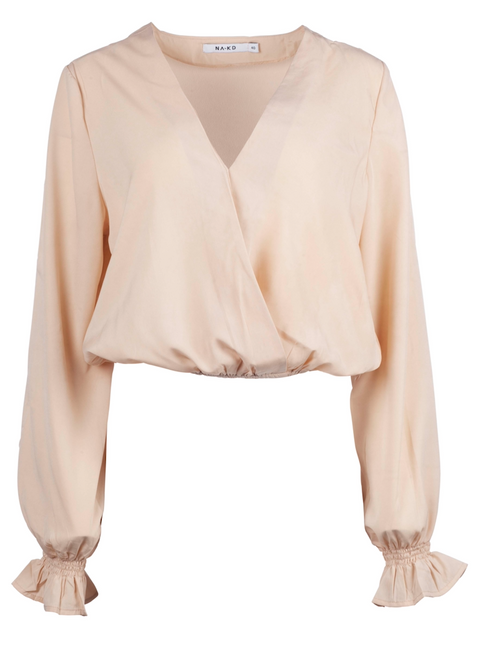 Wrap Over Blouse - Light Beige (4102408011811)
