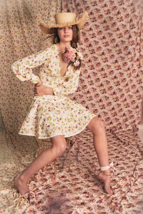 Holly Dress - Yellow Flower Bomb
