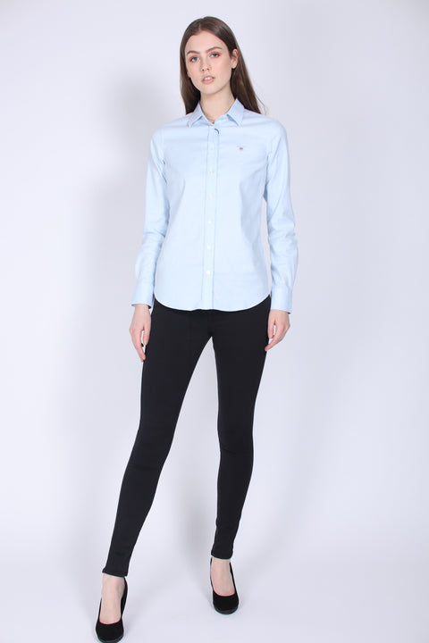 Stretch Oxford Solid Skjorte - Light Blue