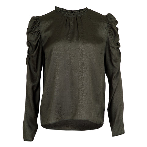 Letty Jacquard Blouse - Army (4251610152995)