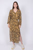 Snake LS Maxi Dress - Chai Tea - Second Female - Kjoler - VILLOID.no