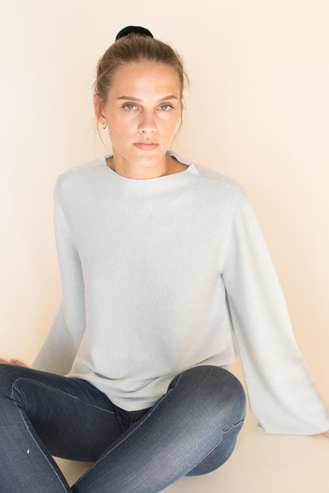 Bell Sleeved Sweater - Light Grey (1476706435107)