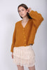 Hairy Knit Cardigan - Golden Mustard - ByTimo - Gensere - VILLOID.no