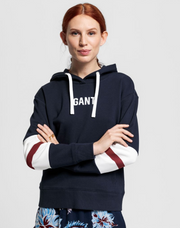 Graphic Block Stripe Hoodie - Evening Blue