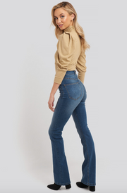 Skinny Bootcut Jeans - Mid Blue (4369497751661)