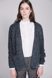 Brook Knit Short Cardigan - Dark Grey Melange