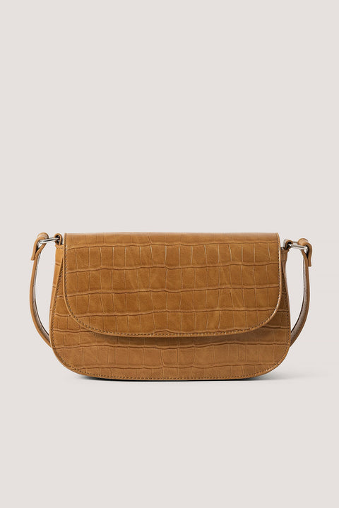 Croco Look Shoulder Bag - Brown