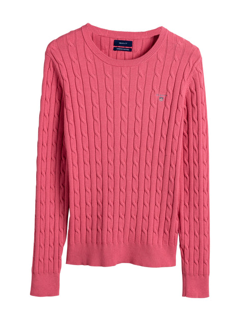 Stretch Cotton Cable C-neck - Rapture Rose