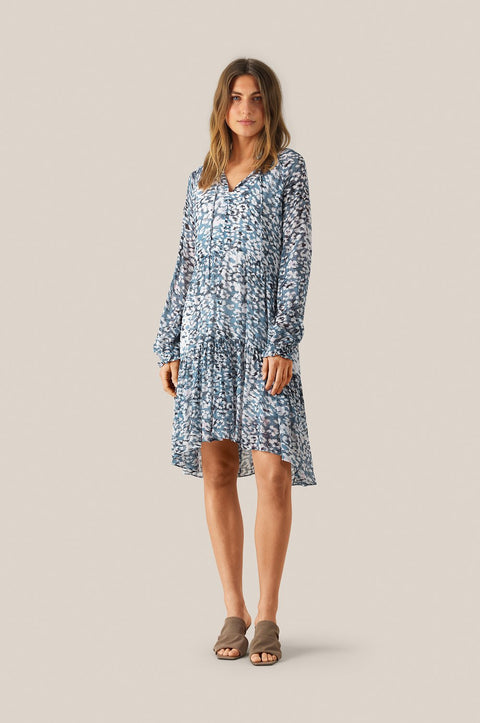 Clouds LS Midi Dress - Faded Denim