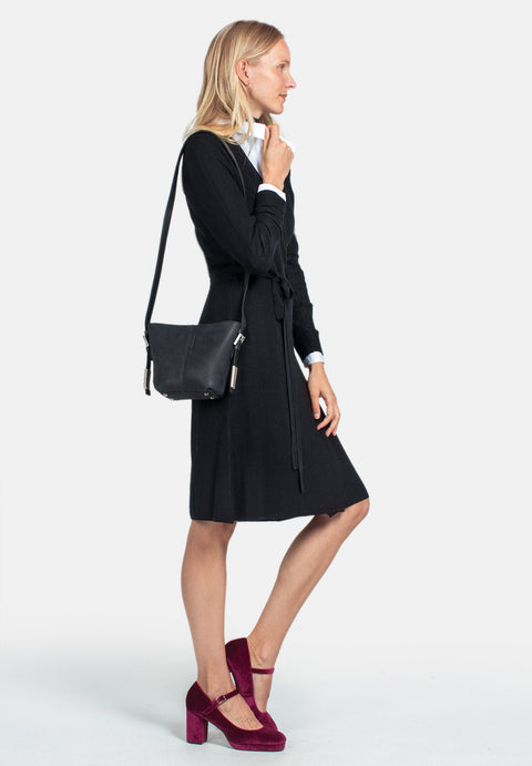 Wool Wrap Dress - Black (1889852456995)