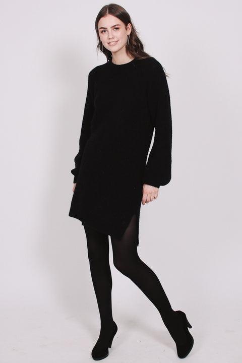 Fluffy Rib Dress - Black