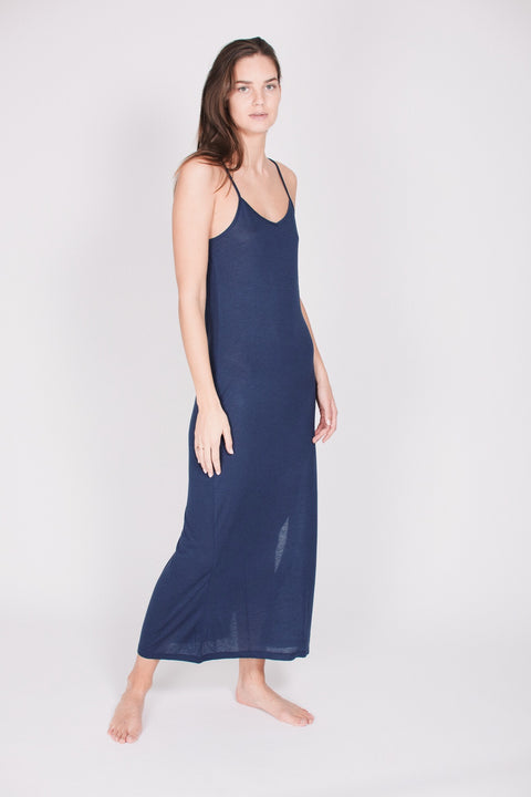 The Slip Dress : With cashmere - Deep Sea Blue