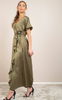 Bela Ankle Dress - Green Olive Konfetti Jacquard