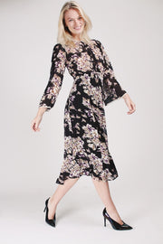 Delicate Semi Couture Flared Dress - Palace Black