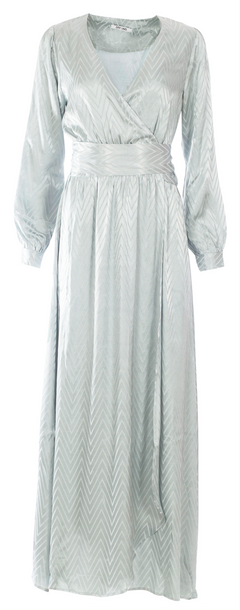 Sharon Long Dress - Mint Green Zig Dag Satin