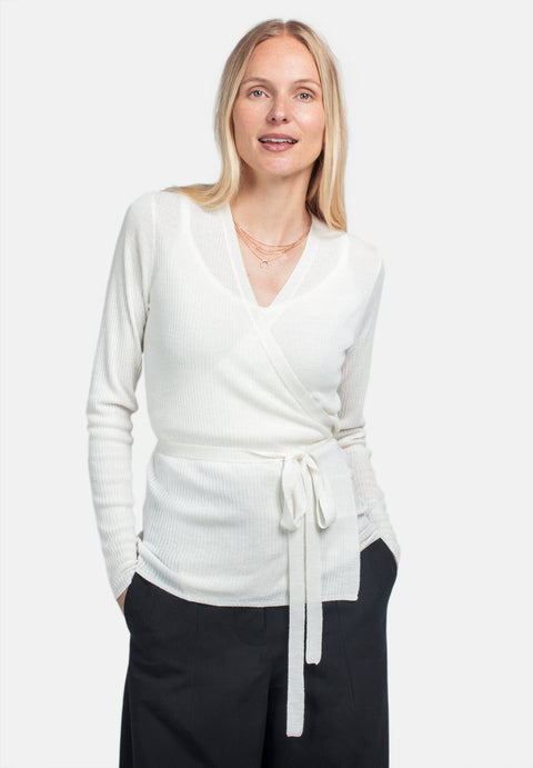 Wool Wrap Top - Cream (1889853276195)
