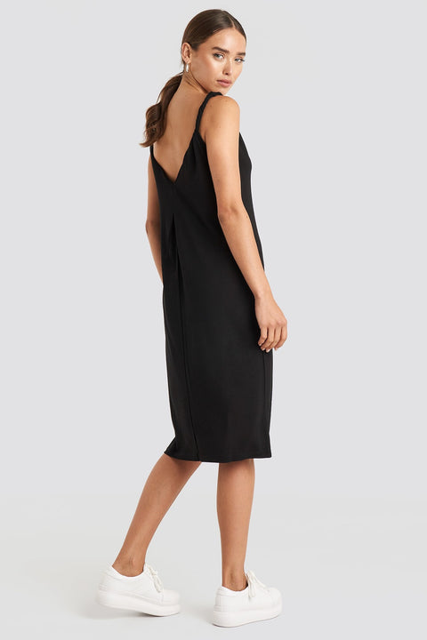 Cupro V-neck Midi Dress - Deep Black
