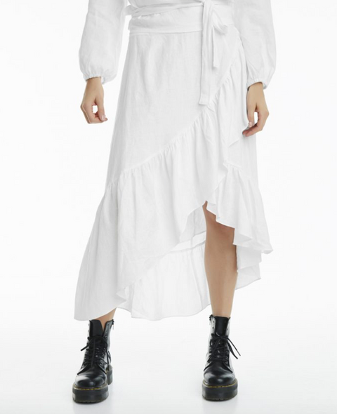 Wendy Linen Solid Skirt - White