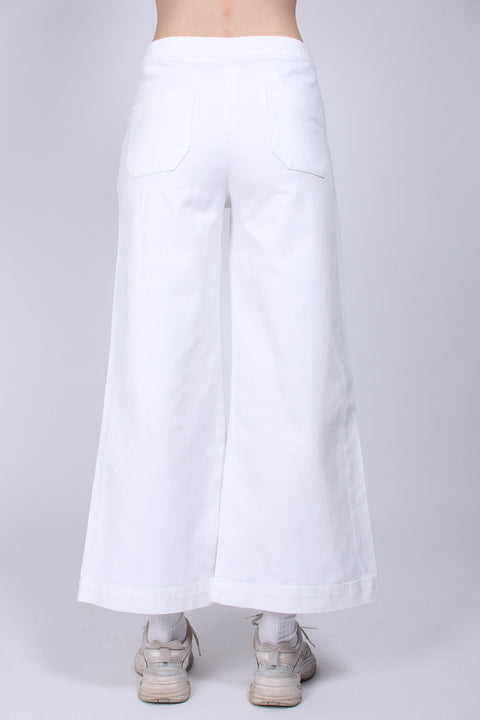 Contrast Stitch Pants - White