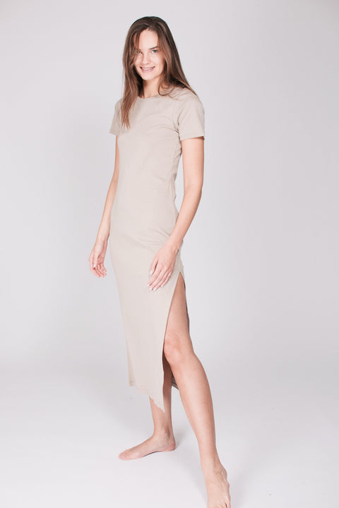 The T-dress : Organic Cotton - Beige