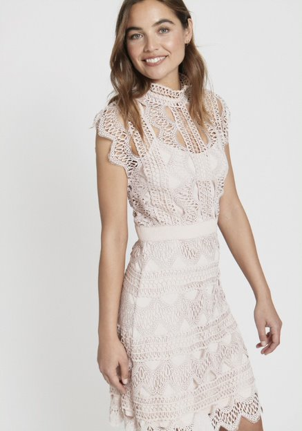 Ira Dress - Pink Crochet Lace