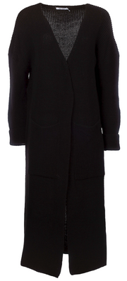 Knitted Long Cardigan - Black (4102396051491)