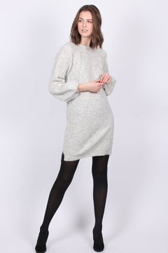 Fluffy Rib Dress - Grey Melange (4179358416931)