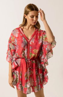 Melia Kaftan - Electric Jungle Pink Coral