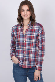 Faded Winter Twill Check Shirt - Mahogny Red