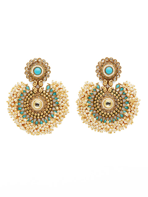The Large Tanushri Earrings - Turqoise (1786307706915)