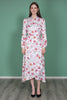 Shiny Midi Wrap Dress - White Tulips - ByTimo - Kjoler - VILLOID.no
