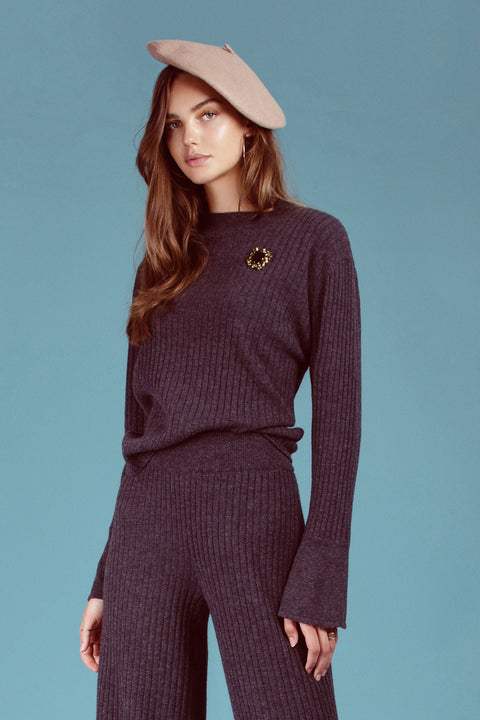 Lily Rib Sweater - Anthracite Grey
