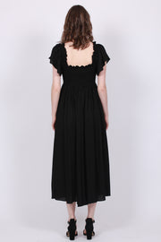 Smocking Bow Dress - Black