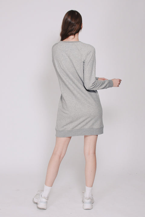 Gant Shield Logo C-neck Dress - Grey Melange
