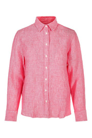 The Linen Chambray Shirt - Watermelon red (1618811912227)