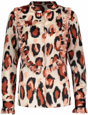 Leopard Printed Ruffle Blouse - Cloud Dancer