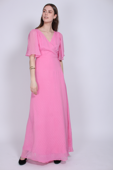 Delicate Semi Wrap Dress - Pink