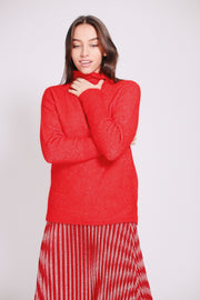 Brook Knit New T-neck - Poinciana