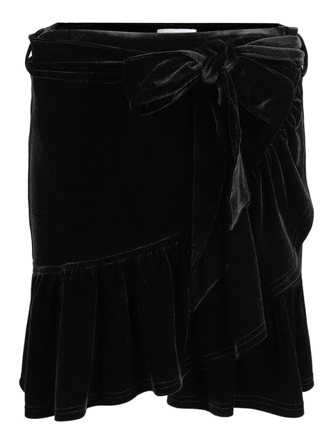 Carla Velour Skirt - Black (4328096956525)