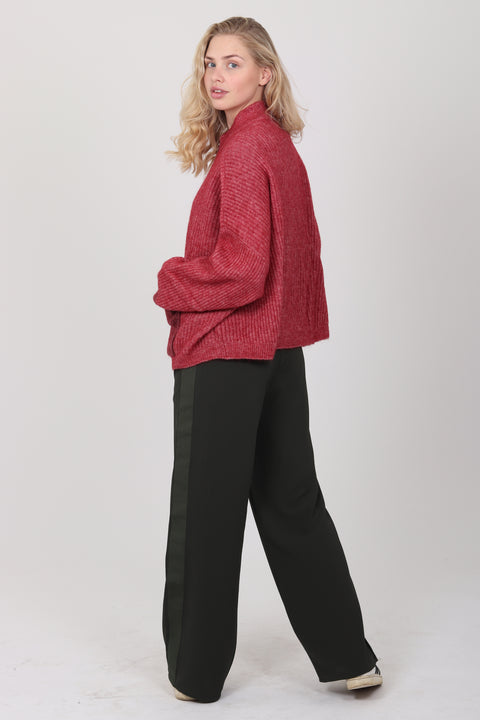 Penguin Knit Cardigan - Red Melange