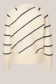 Brook Knit Striped Boxy Cardigan - Eggnog (4485720440941)