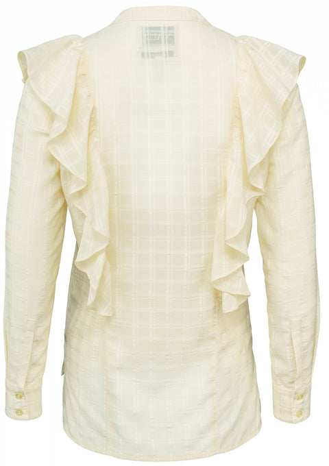 Frill Shirt Check - Double Cream
