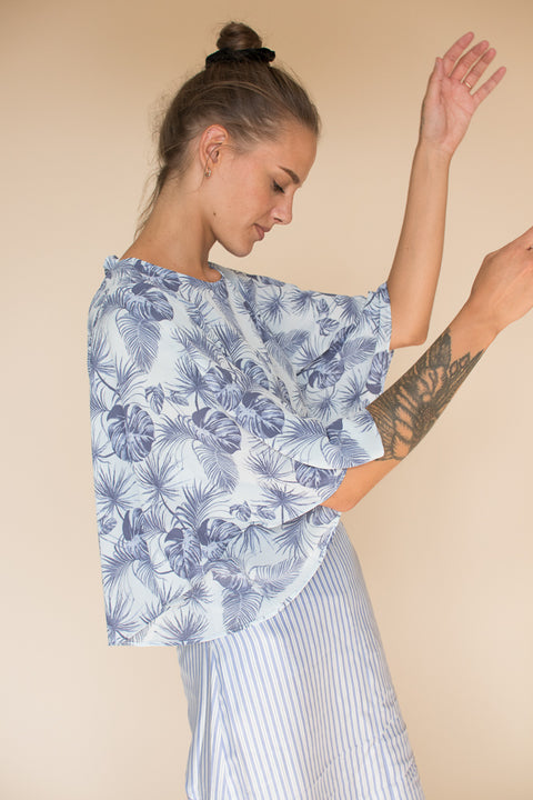 Ruffle Floral Sleeve Top - Skyway
