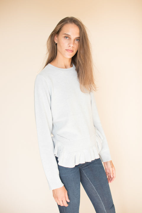Ruffle Hem Sweater - Grey Dawn