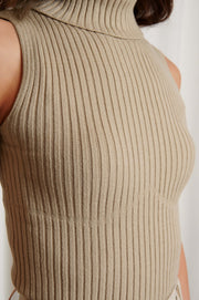 Seam Detail Ribbed Polo Top - Beige