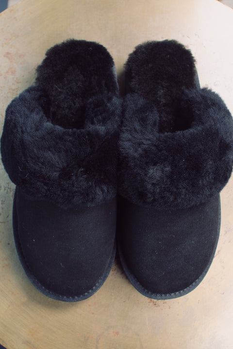 Slipper Shearling Suede - Black