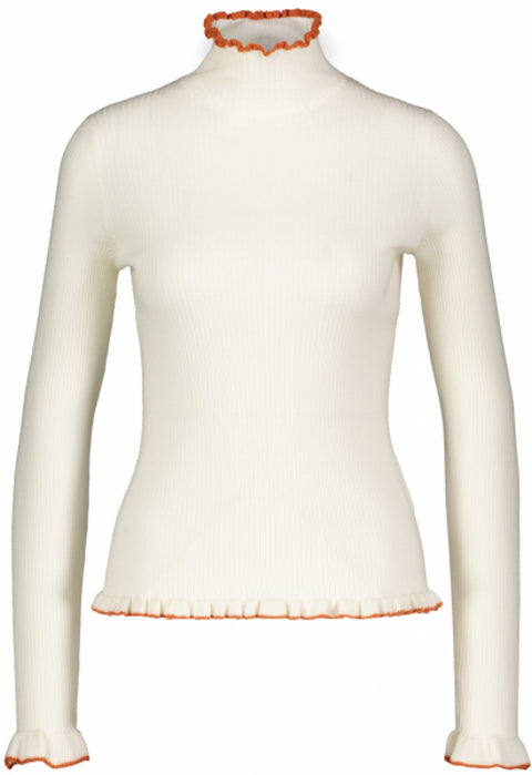 Tipped Skinny Rib Top - Ivory (4095784910883)