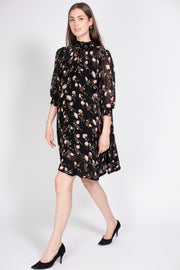 Delicate Semi A-line Dress - Black Poppy (1725978869795)